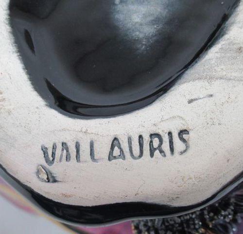 VALLAURIS Lampe en céramique à décor de crustacés. Haut.: 16 cm. Long.: 20 cm Ci…