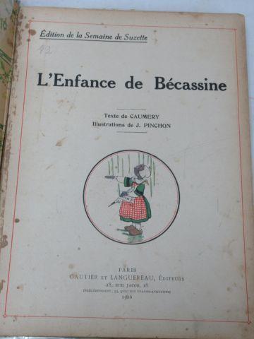 """Lot de trois """"Bécassine"""", édition Gautier Languereau : """"L'enfance de bécassine"""",…"""