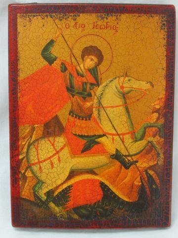 RUSSIE Icône (reproduction), figurant Saint Georges. 16 x 22 cm