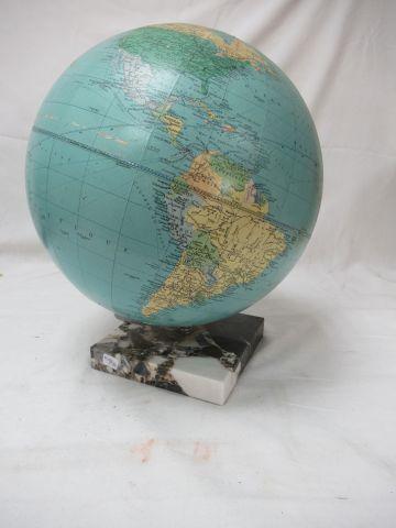 CARTES TARIDE Globe terreste en carton bouilli sur son socle en marbre ( d'origi…