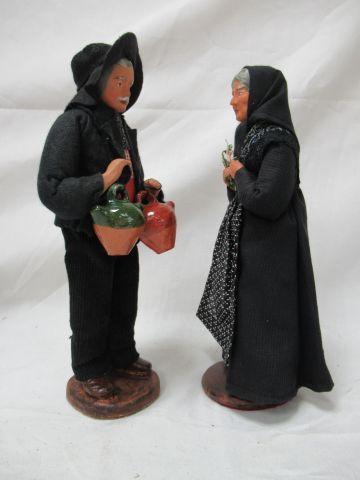 LANDRO Couple de santons en terre cuite. Haut.: 25 cm