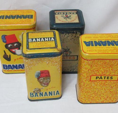 """Lot de 4 boîtes en tôle lithographiée """"BANANIA"""". 10 cm"""