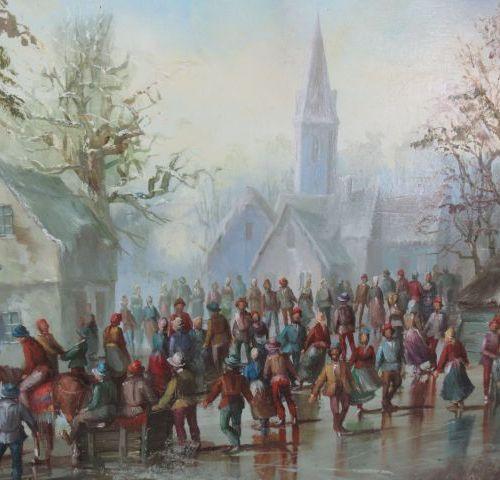 """KOVACS Joseph """"Patinage au village"""" Huile sur panneau. Trace de signature. 50 x …"""