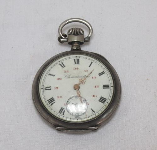 Montre de gousset en argent, début du Xxe siècle. Chronomètre. Poids brut : 57 g