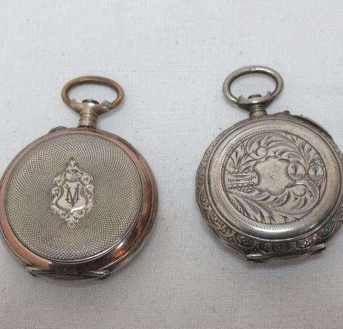 Lot de deux montres de col en argent (partiellement vermeillés). XIXe siècle. Po…