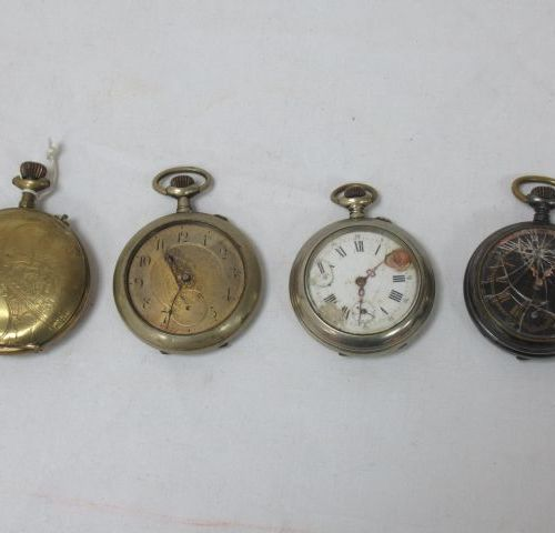 Lot de 4 montres de gousset en métal. (mauvais état, accidents et manques)