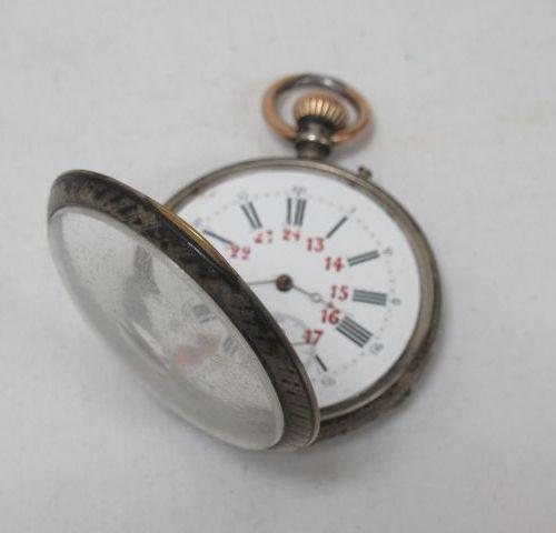 LIP Montre de gousset en argent niellé. Poids brut : 91,5 g (manque le verre, ac…