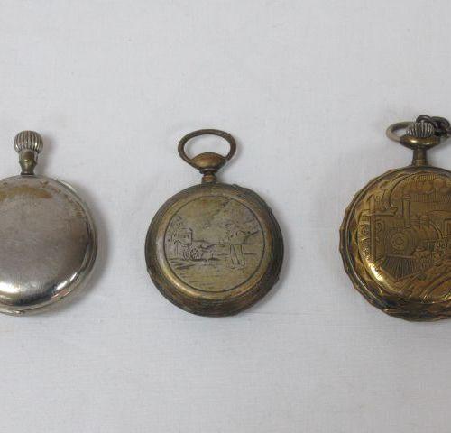 Lot de 3 montres de gousset en métal. (usure)