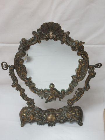 Miroir psyché en bronze. Style Rocaille. 34 x 28 cm