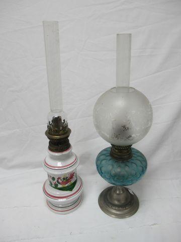 Lot de deux lampes à pétrole. 48 51 cm