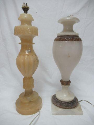 Lot de deux pieds de lampes en albâtre. 39 40 cm