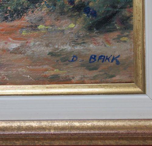 """D.BAKK, """"Au bord de la Dive"""", huile sur toile signée en bas à droite, contre sig…"""