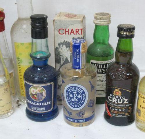 Petit lot de mignonettes d'alcools.