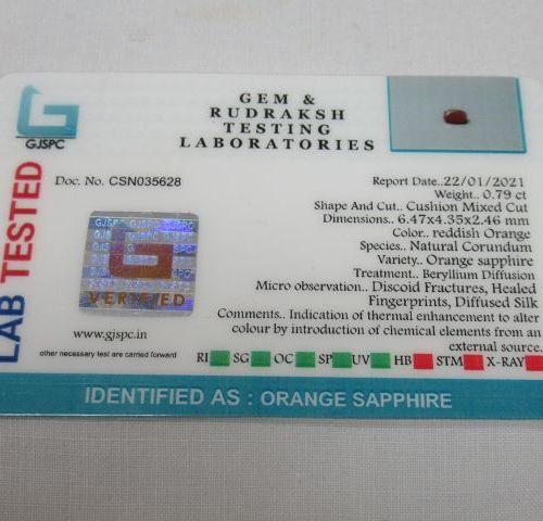 Lot de deux saphirs : un orange de 0,79 ct et un bleu/gris de 2,49 ct.