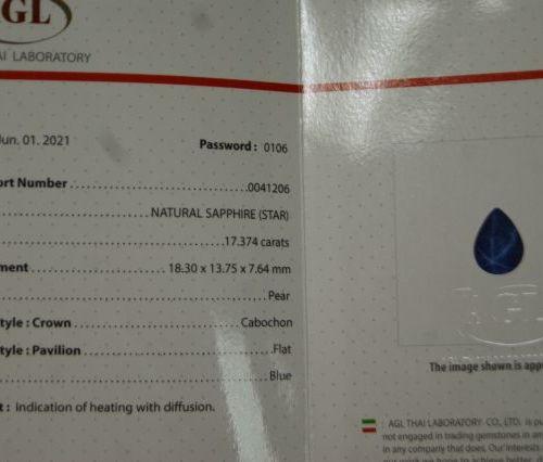 Saphir naturel étoilé, forme goutte. 17,37 carats. Avec son certificat AGL.