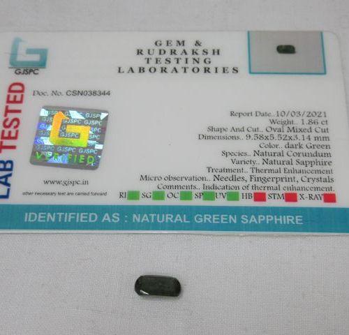 Saphir bleu/vert. 1,86 carats. Avec son certificat.