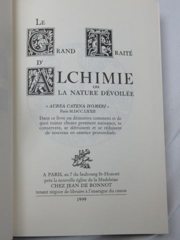 """Jean de BONNOT """"Le Grand Traité d'Alchimie"""" 1999 (reliure légèrement tachée)"""