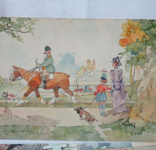 Félix Jobbé Duval (1879 1961) Lote de 5 dibujos en acuarela. Uno firmado. En hoj…