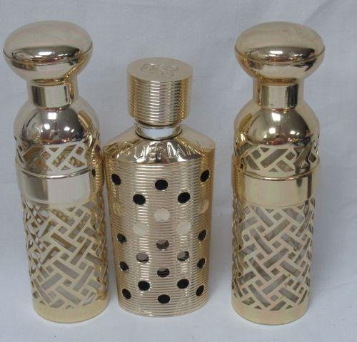 GUERLAIN Lot de 3 étuis pour vaporisateurs en métal pour Shalimar. 16 cm