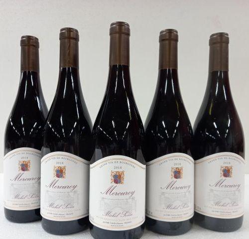 5 bouteilles de Mercurey rouge. 2018. Bourgogne. Michel Sevin.