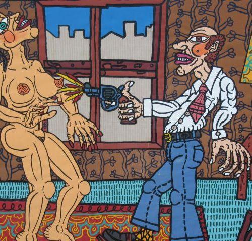 """ROBERT COMBAS ( né en 1957 ) """" L'adultère"""" sérigraphie sur toile signée et datée…"""
