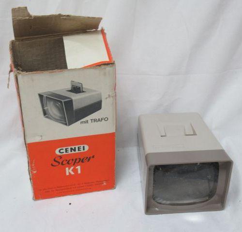 CENEI Visionneuse à diapositives. Modèle Scoper K1. Dans sa boîte. Circa 1970.