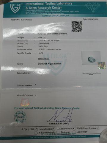 Aigue marine, 6,46 carats. Avec son certificat.