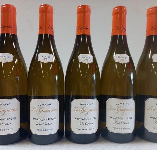 5 bouteilles de Montagny 1er cru. Les Coëres. 2018. Domaine des Guignottes. Andr…