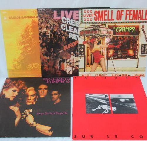 Lot de 5 vinyles 33 tours : Carlo Santana, Fantaisy, Smell of Female, The Cramps…