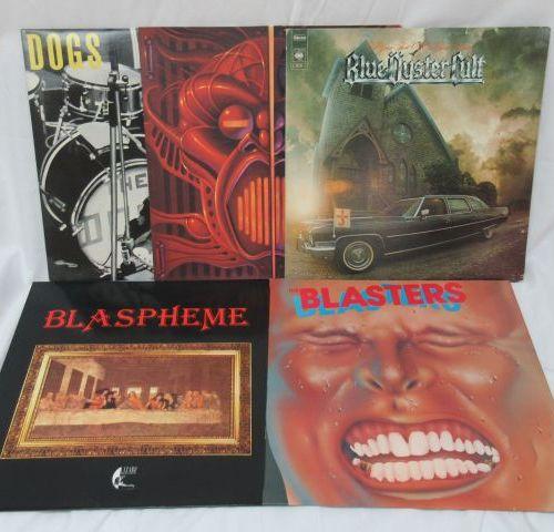 Lot de 5 vinyles 33 tours : Dogs, Under one flag, Blue oyster cult, Blaspheme, T…