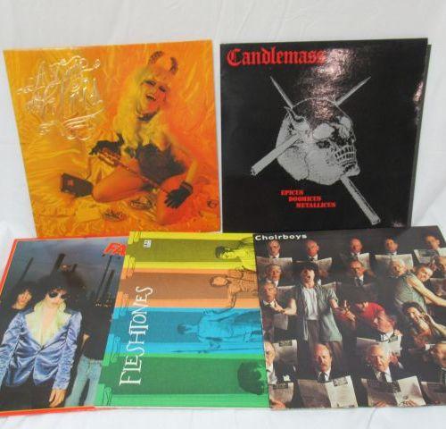 Lot de 5 vinyles 33 tours : The Cramps, Candlemass, Choir Boys, Fleshtones, Fact…