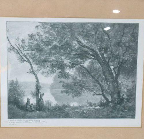 """D'après COROT """"Souvenir de Mortefontaine"""" Lithographie en noir. Signée dans la p…"""