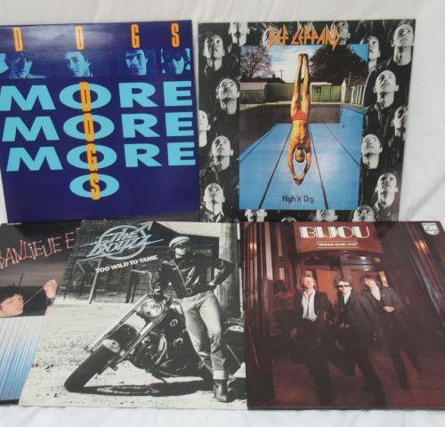 Lot de 5 vinyles 33 tours : Dogs, Def Leppard, Banlieue Est, Bijou, The Boyzz
