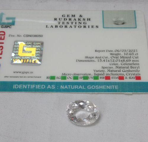 Goshénite. 10,65 carats. Avec son certificat.