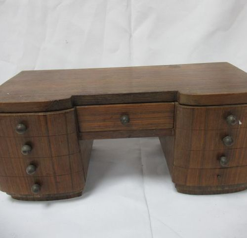 Bureau miniature en bois, modèle Art déco. 15 x 34 x 14 cm (élément à refixer, u…