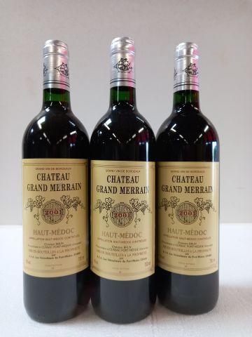 3 bouteilles de Château Grand Merrain. 2001. Haut Médoc. Domaine Christian Brun.