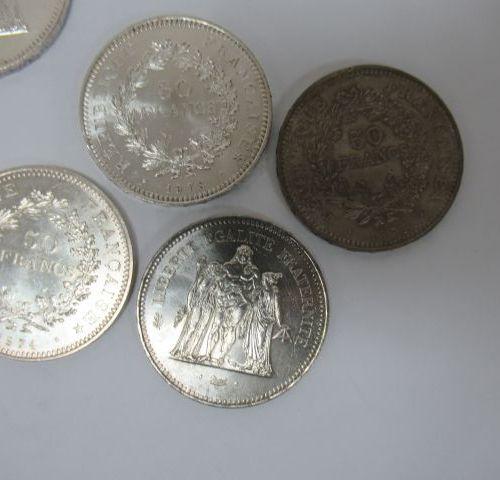 6 pièces de 50 francs Hercule en argent. Circa 1970. Poids : 172 g