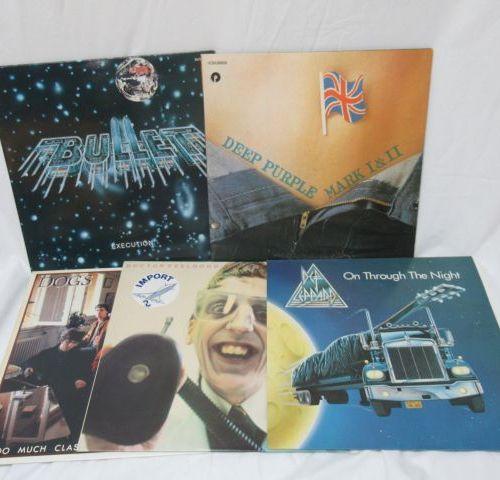 Lot de 5 vinyles 33 tours : Bullet, Deep Purple, Def Leppard, Doctor Feel Good, …