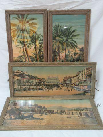 Suite de 4 chromos figurant des paysage orientalistes . Encadrées sous verre. En…