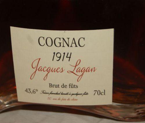Bouteille de Cognac Jacques Lagan, Brut de fûts, 1914. 70 cl.