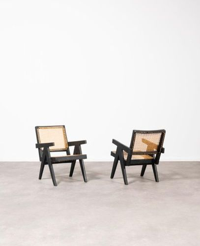 Pierre Jeanneret (1896 1967) Easy Armchair Pair of armchairs Solid teak and arch…