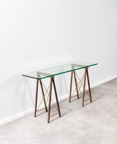 Jules Wabbes (1919 1974) Console table with trestles Glass top and trestles in m…
