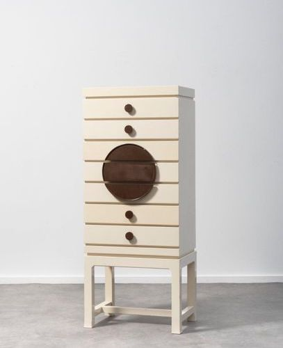 EMIEL VERANNEMAN (1924 2004) Chest of drawers White and brown lacquered wood. La…