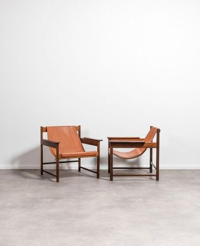 Sérgio RODRIGUES (1927 2014) Lia Pair of armchairs Jacaranda and leather. Paar z…