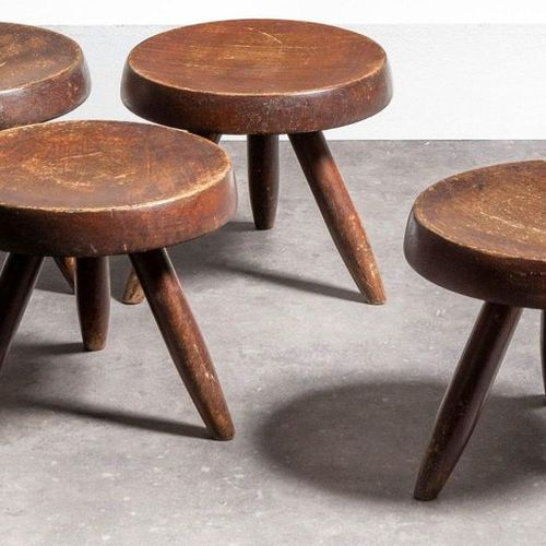 CHARLOTTE PERRIAND (1909 1999) & STEPH SIMON Berger Suite of four tripod stools …