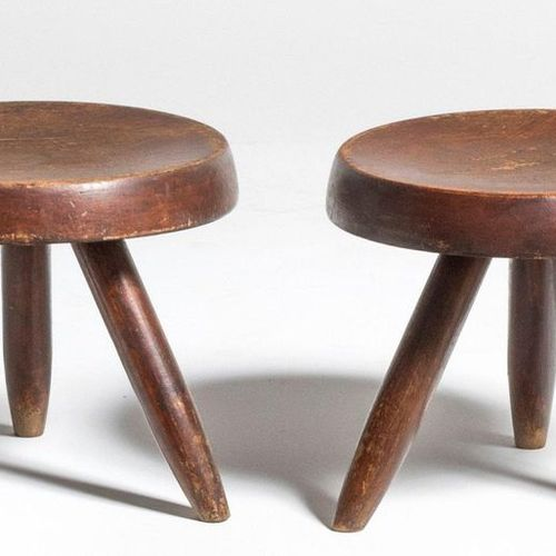 CHARLOTTE PERRIAND (1909 1999) & STEPH SIMON Berger Pair of tripod stools Staine…