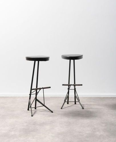 WILLY VAN DER MEEREN (1923 2002) Pair of stools Vinyl and black lacquered tubula…