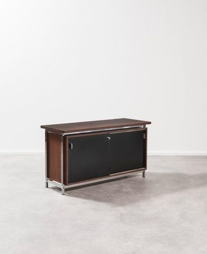 Jules Wabbes (1919 1974) DG130 Sideboard Top in rosewood veneer, black laminate …