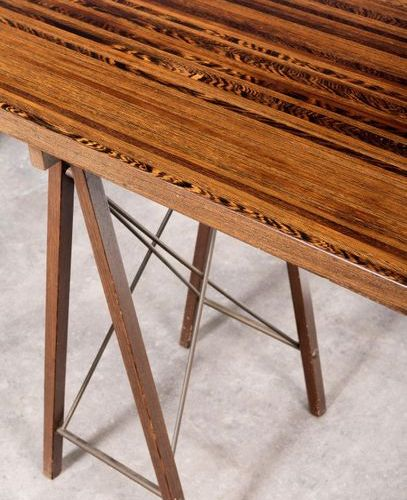 Jules Wabbes (1919 1974) Console table with trestles Table top made of solid wen…
