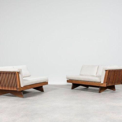 George Nakashima (1905 1990) Origins #263 Pair of sofas meridian sofas Walnut an…